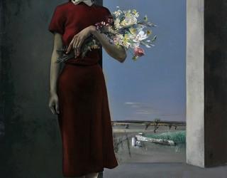 """Portrait de la fleuriste-Exposition galerie Charpentier, rue Saint HonorŽ ˆ Paris """"Cent tableaux par A. Marchand"""" en 1956"""